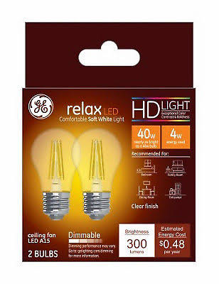 GE Light Bulb, LED, Soft White, Clear, 4 Watts - 2 bulbs
