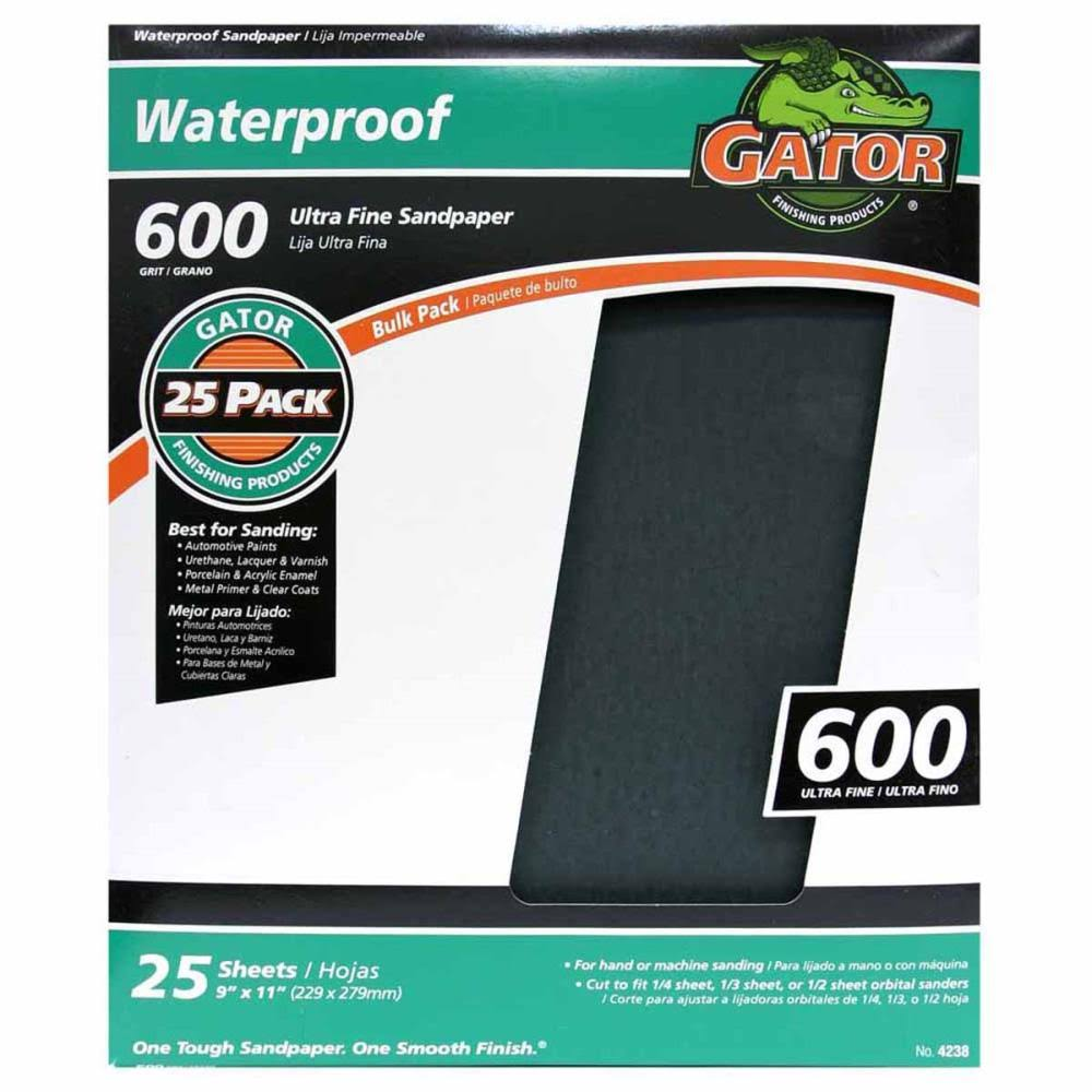 "Ali Industries Gatorgrit Waterproof Sandpaper - 25ct, 600 Grit Paper, 9"" X 11"""