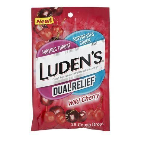 Ludens Cough Drops, Dual Relief, Wild Cherry - 25 drops
