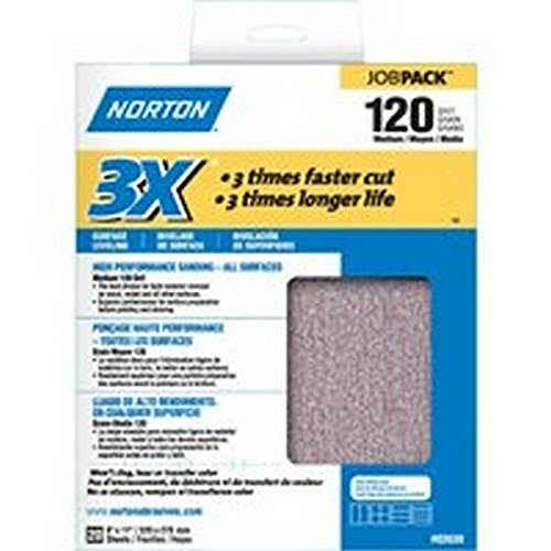 Norton 3X No-Fil Job Pack Abrasive Sheet - Fast Cut Rate, Paper Backing, Aluminum Oxide, Grit 120, Pack of 20