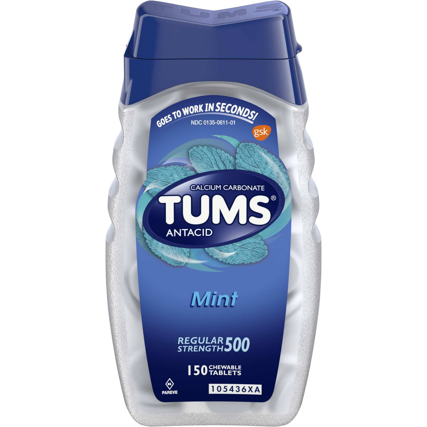 Tums Antacid - Peppermint, 150 Chewable Tablets