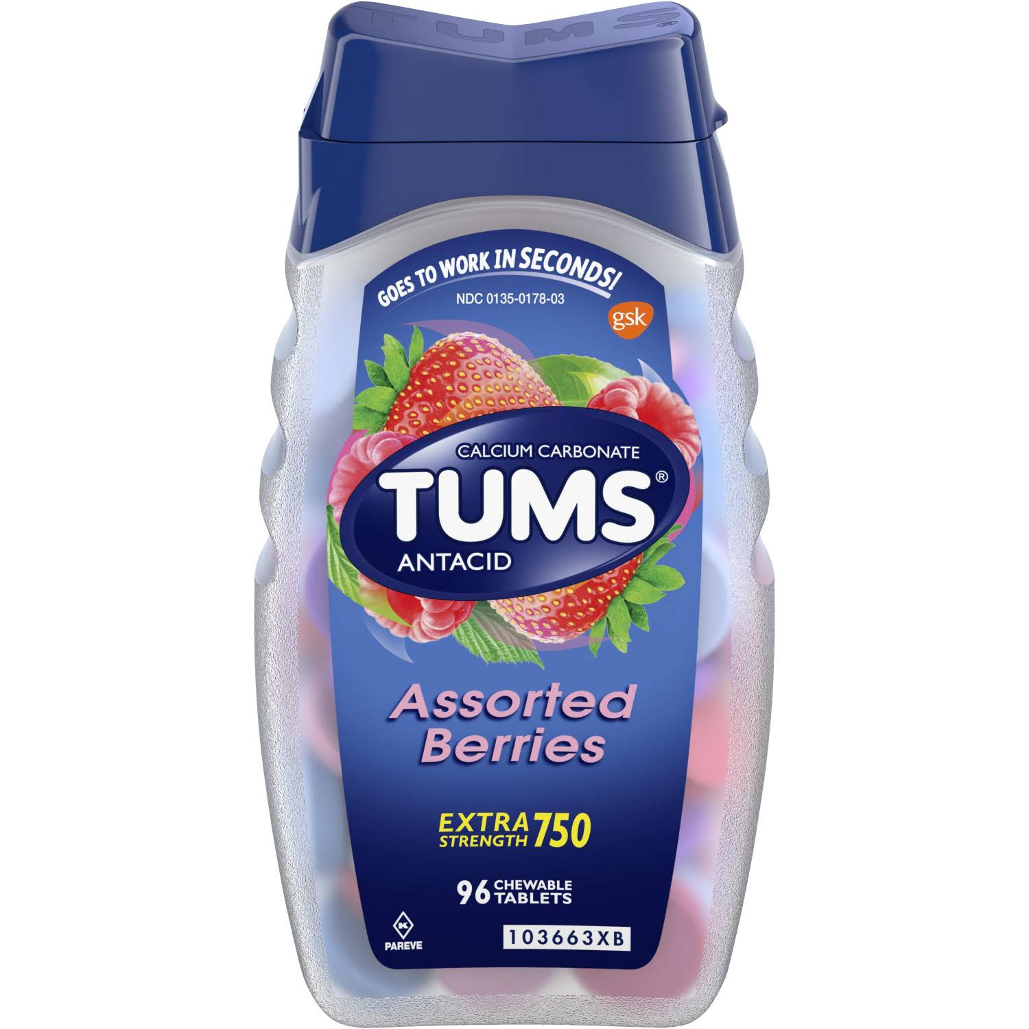 Tums Calcium Carbonate Antacid - 96 Chewable Tablets, Assorted Berries