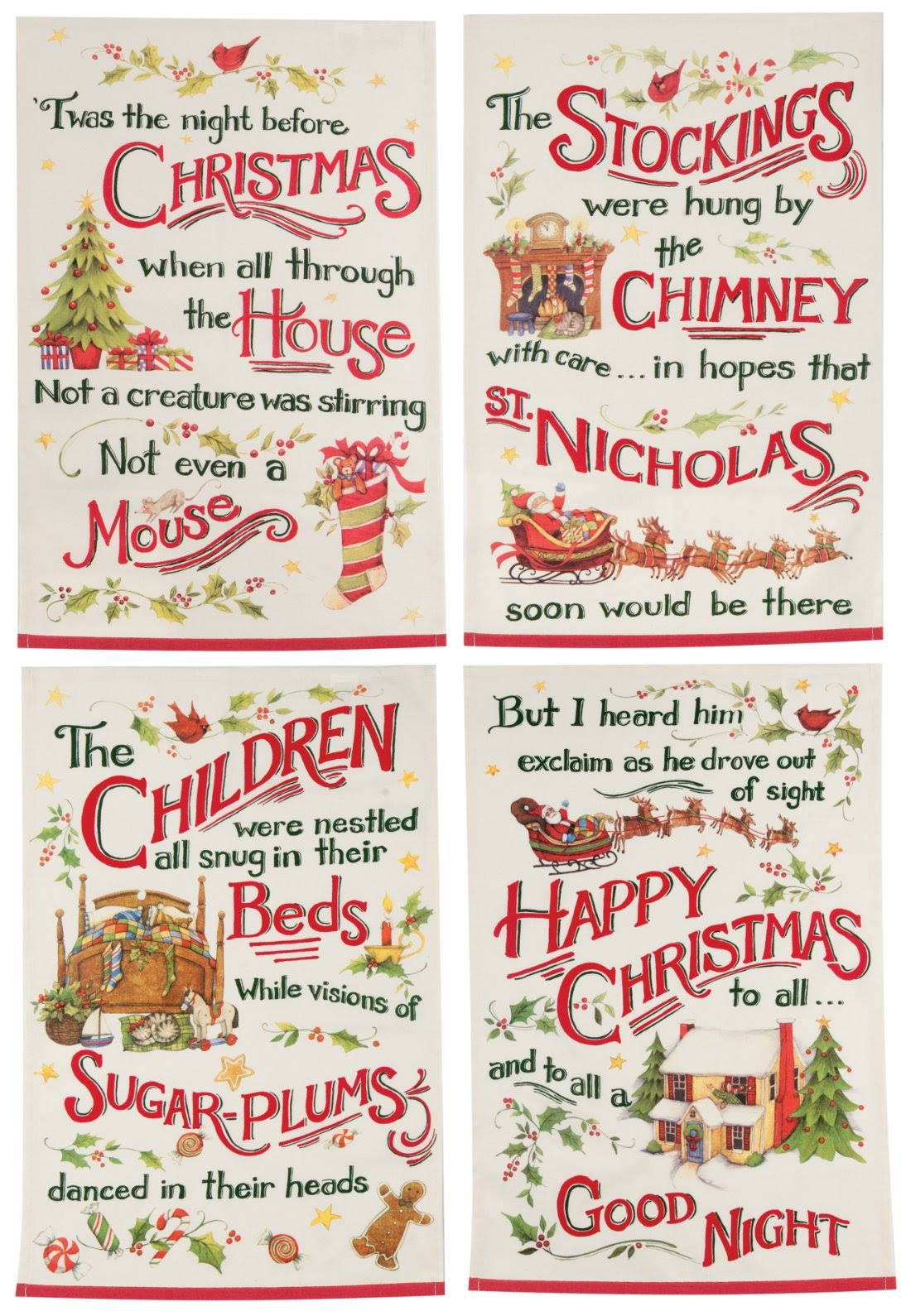 Kay Dee Designs Night Before Christmas Tea Kitchen Towels - 4ct