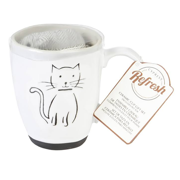 Cypress Home Pet Cat Ceramic Cup Gift Set