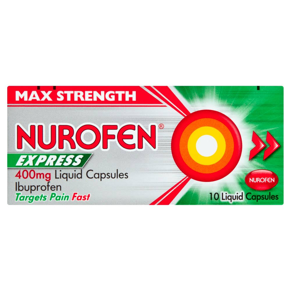 Nurofen Express Ibuprofen Liquid Capsules Relief - 400mg, 10ct