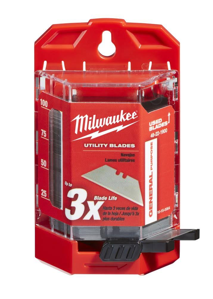 Milwaukee General Purpose Utility Knife Blade - with Dispenser, 100pcs