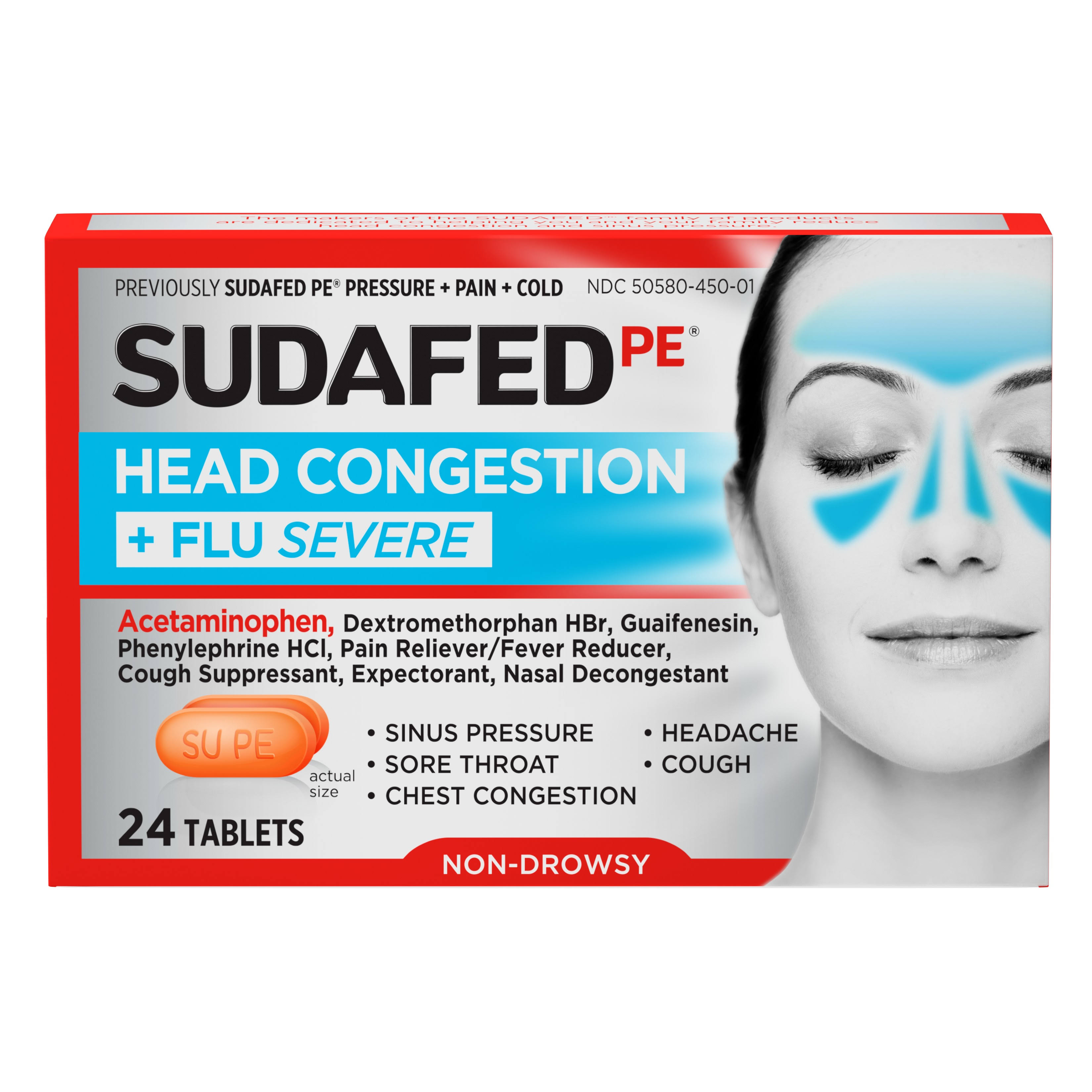 Sudafed PE Head Congestion + Flu Severe Tablets for Adults, 24 ct