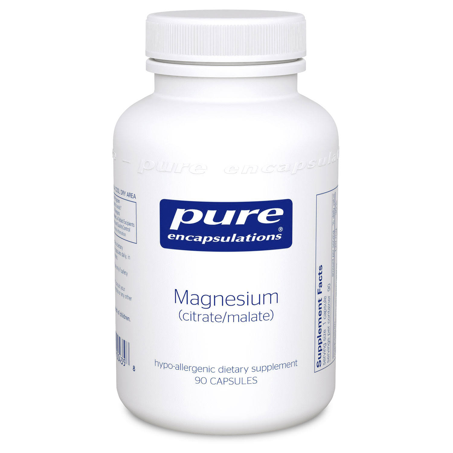 Pure Encapsulations Magnesium Citrate/Malate Hypoallergenic Supplement - 90 Capsules