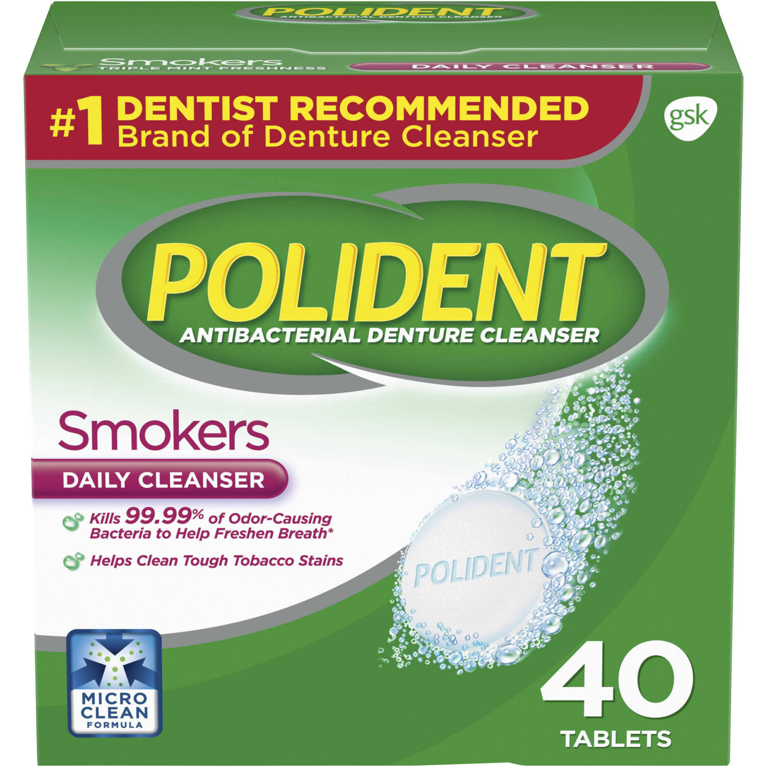 Polident Smokers Antibacterial Denture Cleanser Effervescent Tablets - 40ct