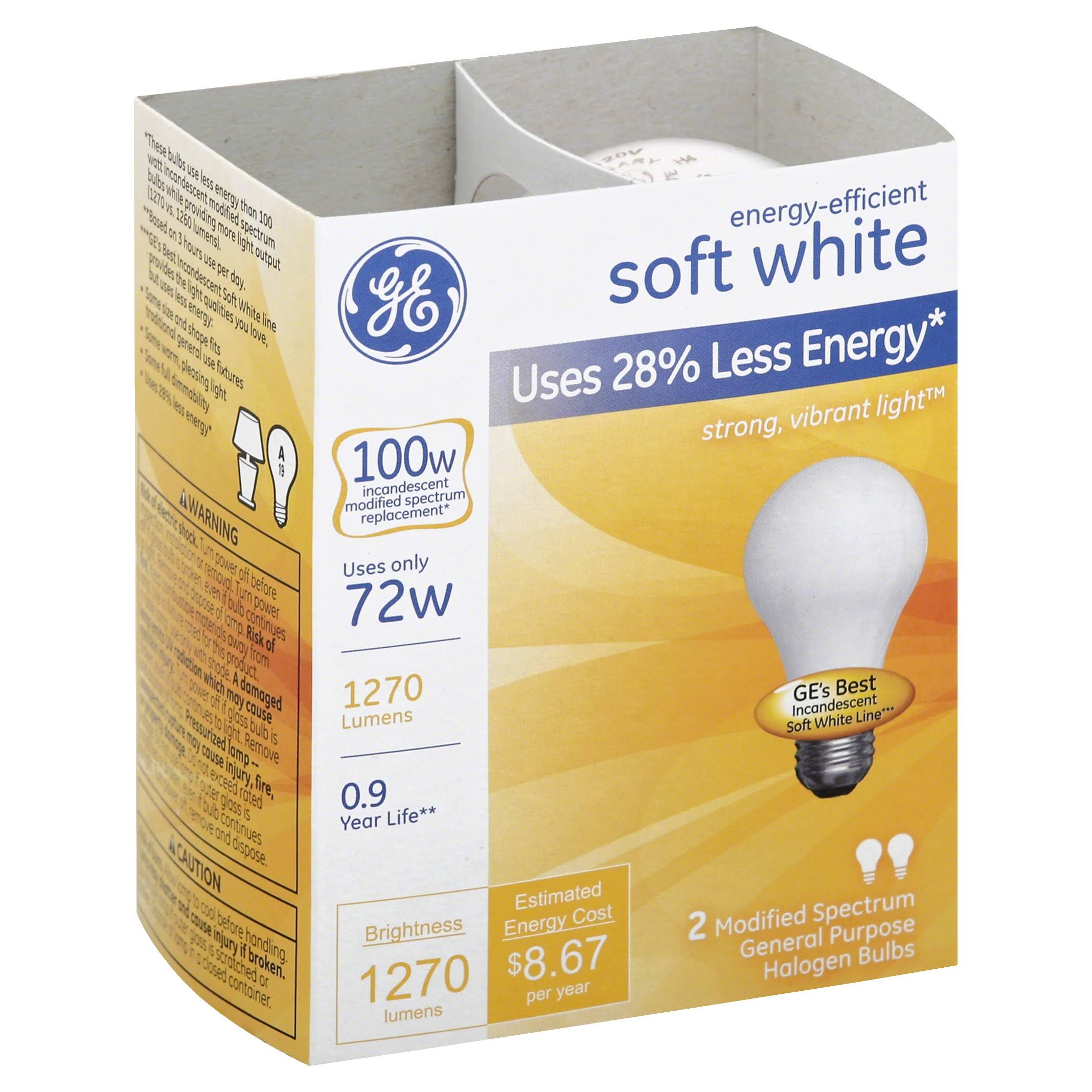 GE Lighting A19 Light Bulb - Medium Base, 2pk, Soft White, 72W, 1490-Lumen