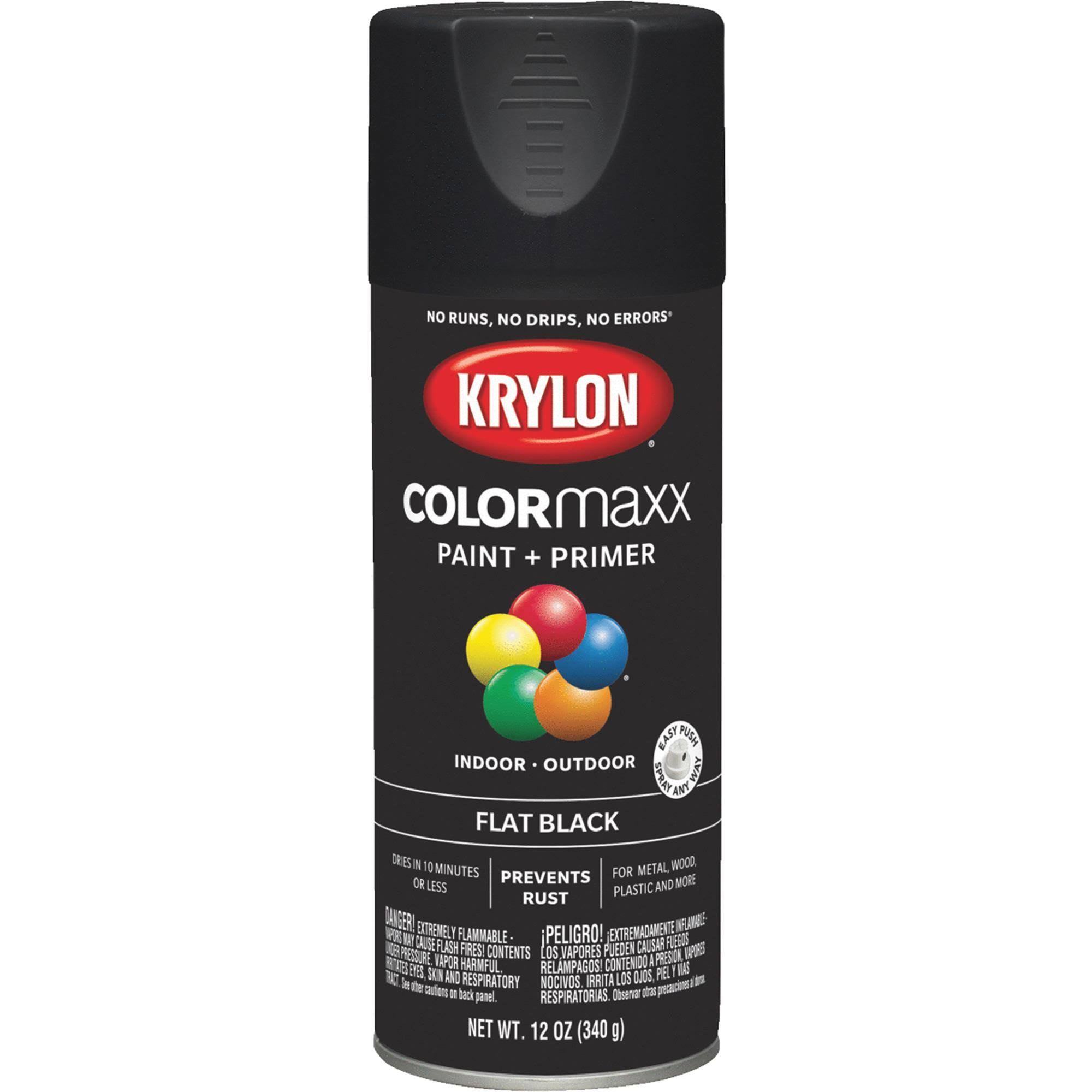 Krylon K05546007 COLORmaxx Spray Paint Flat Black 12 Ounce