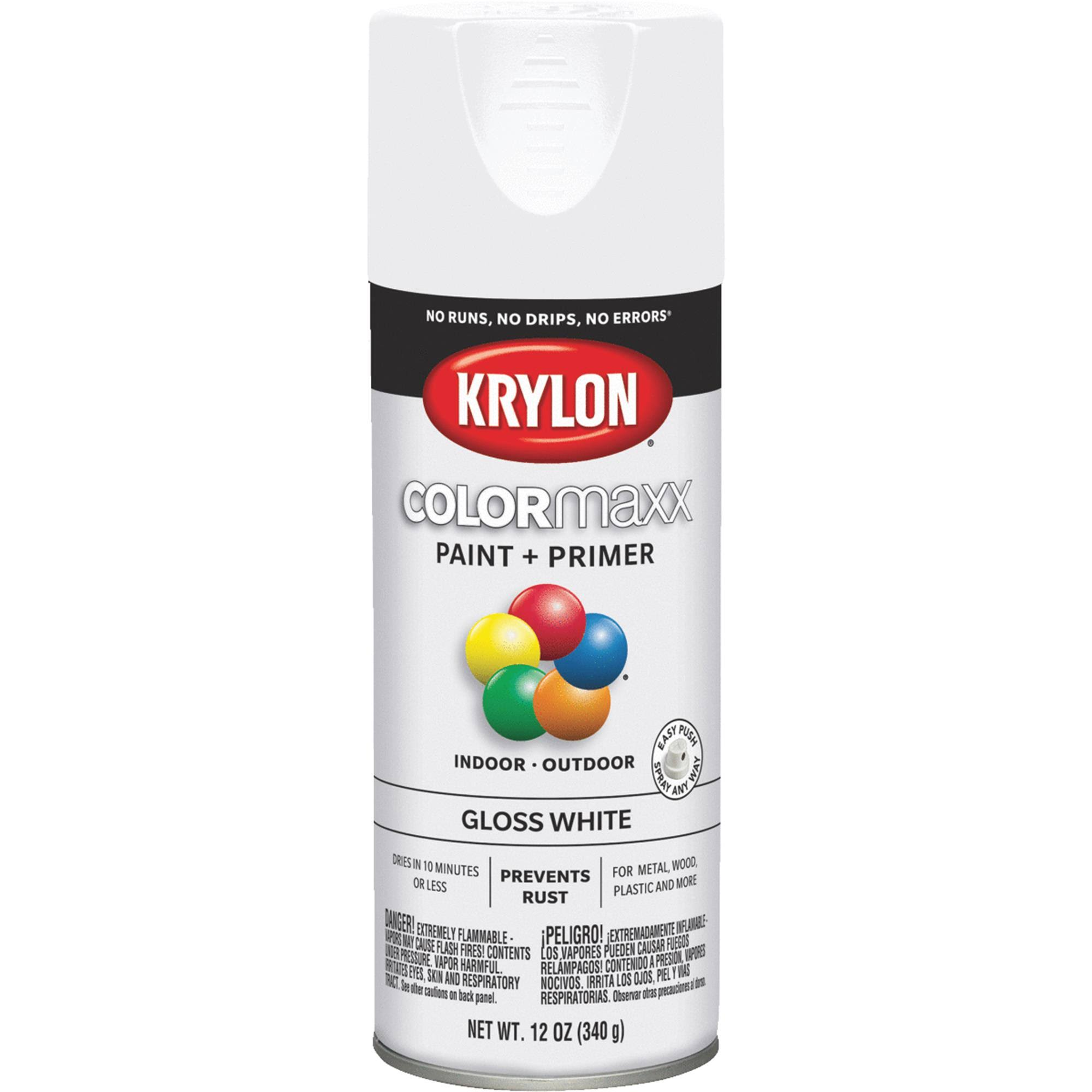 Krylon K05545007 COLORmaxx Spray Paint Gloss White 12 Ounce