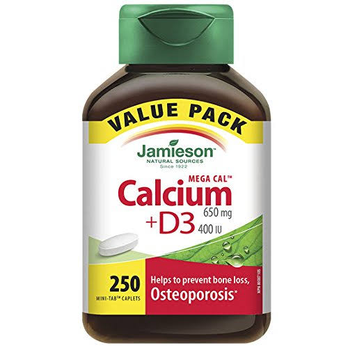 Jamieson Mega Cal Calcium with Vitamin D Tablets - 650mg, 250ct