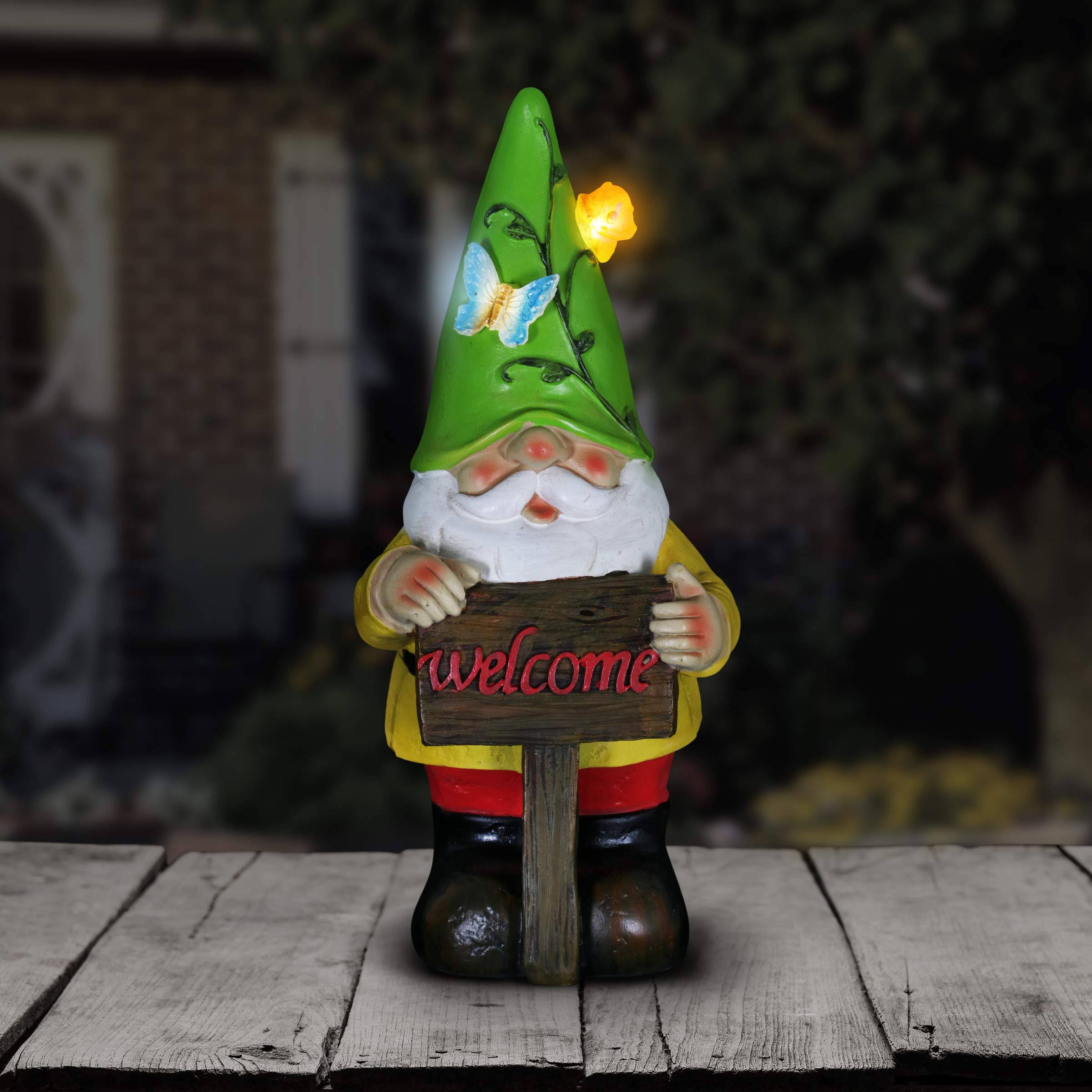 Exhart Solar Colorful Gnome Statue Green Hat
