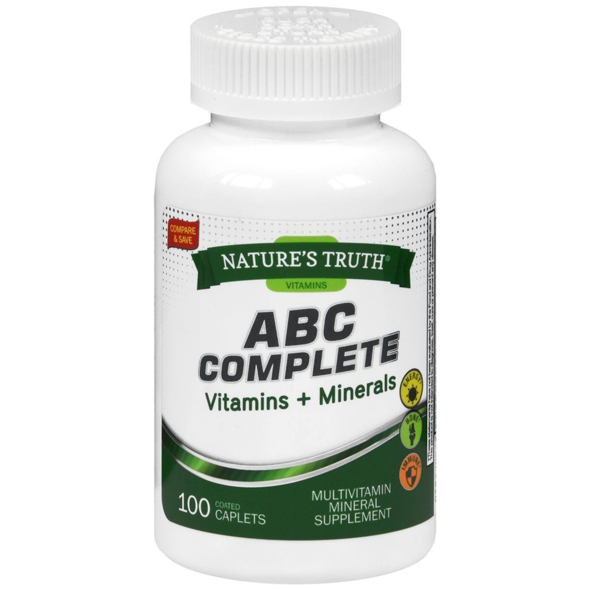 Nature's Truth ABC Complete Vitamins + Minerals Multivitamin Mineral Supplement Coated Caplets - 100 TB