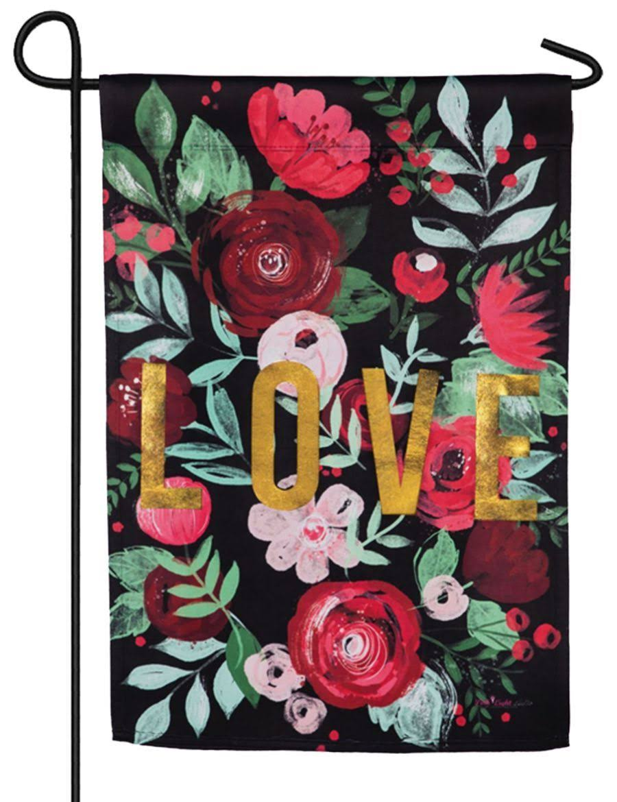 Evergreen Suede 2-Sided Garden Flag -Love Floral