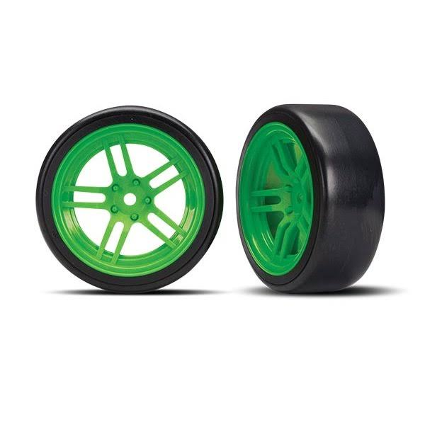 Traxxas 8376G - Tires and Wheels, Assembled, Glued (split-spoke Green Wheels, 1.9' Drift Tires) (Front)