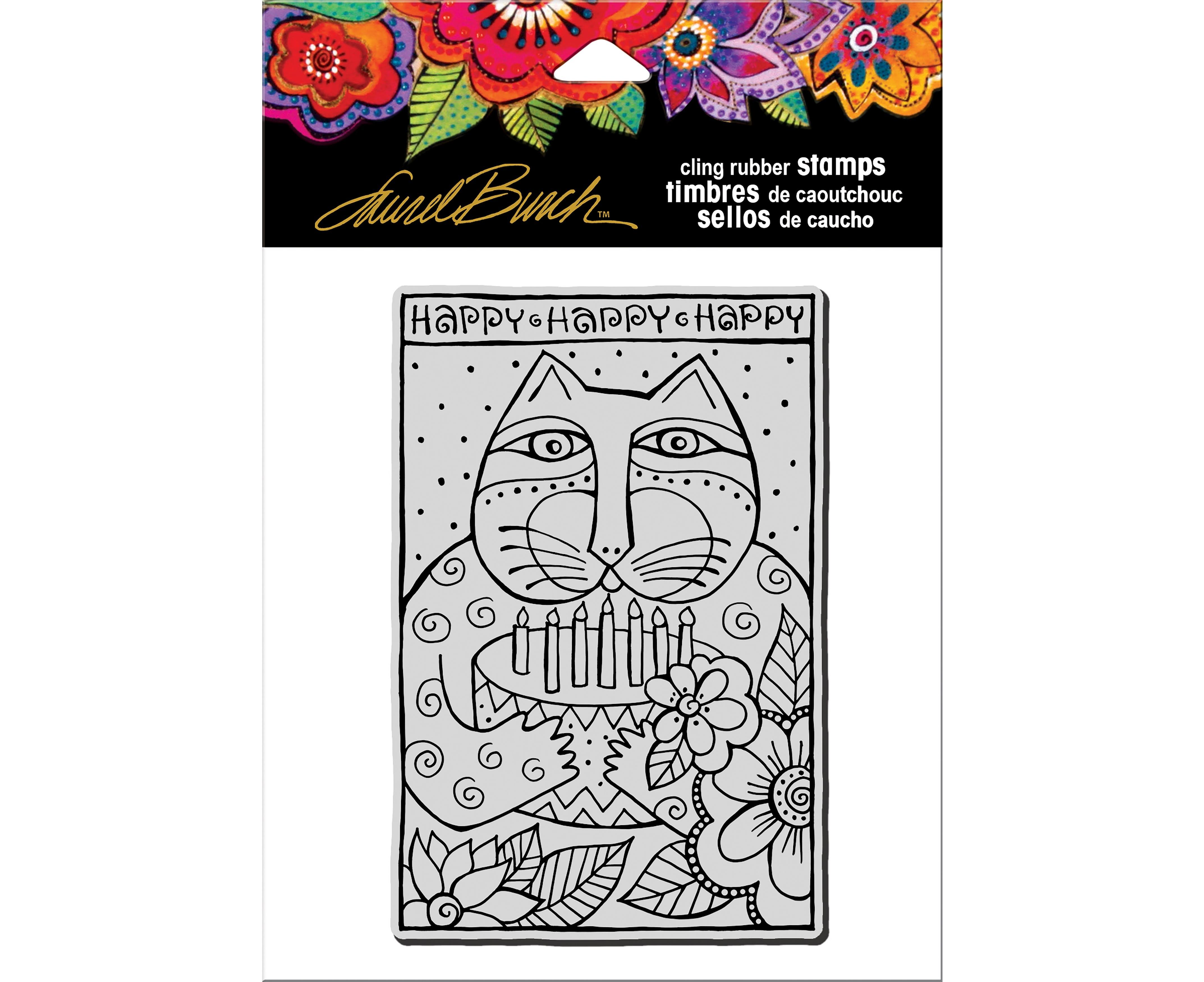 Happy Birthday Cat Laurel Burch Cling Stamp - Stampendous