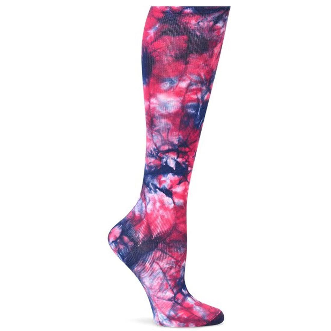 Nurse Mates Women's Compression Trouser Sock Navy Raspberry Tie Die