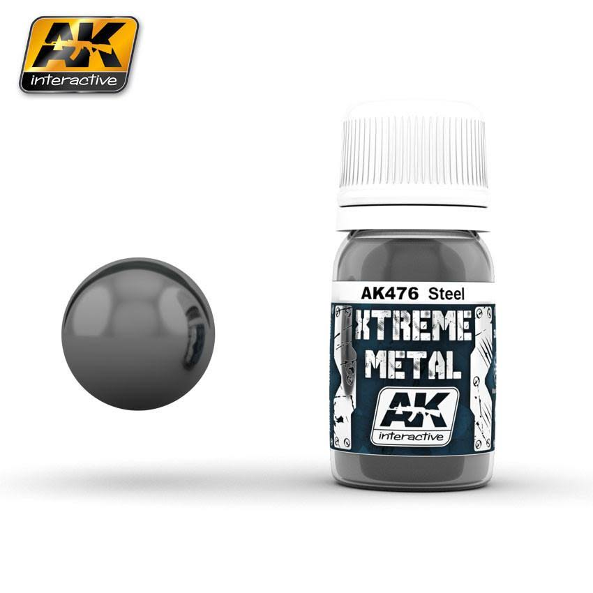 AK Interactive AK-476 Xtreme Metal Steel 30ml Enamel