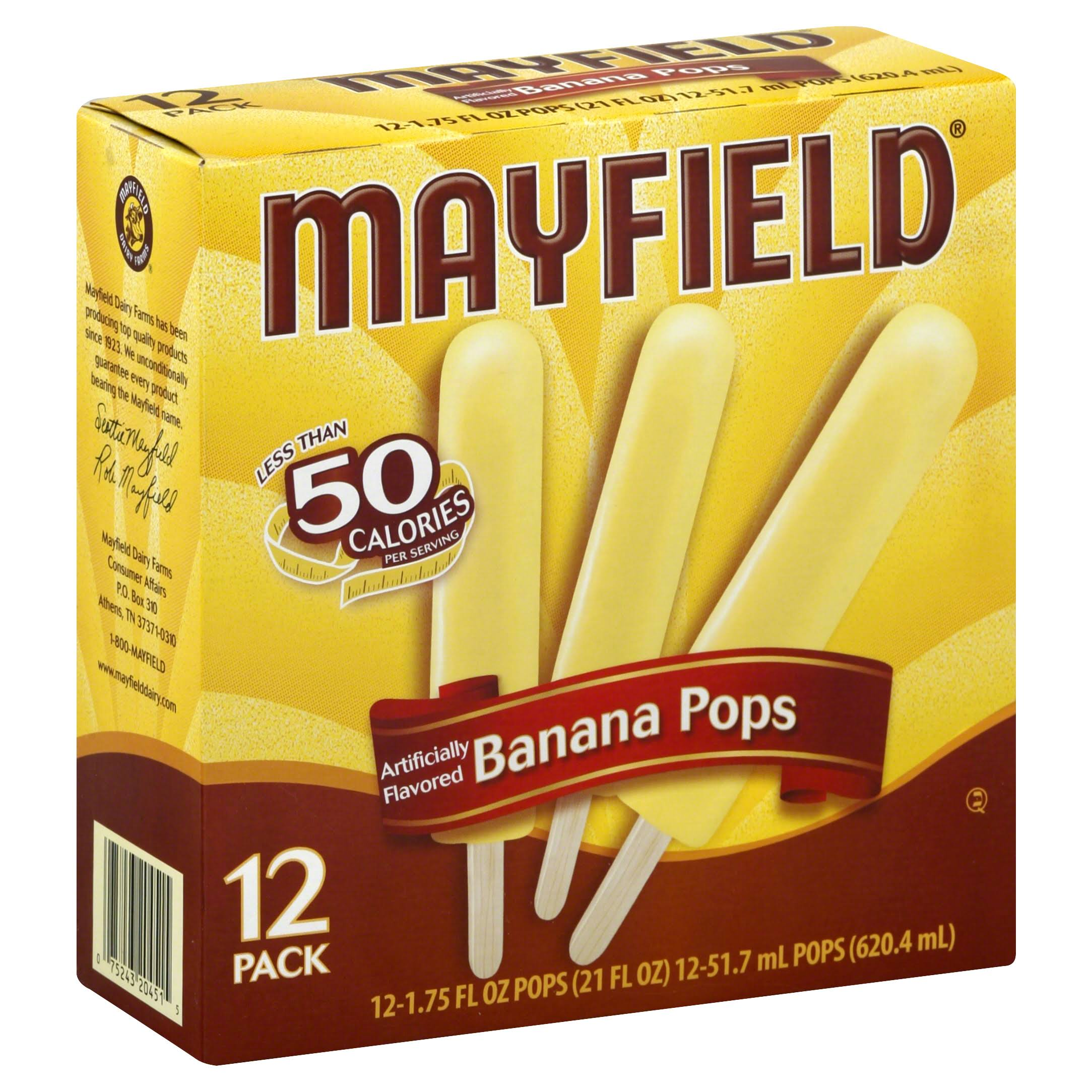 Mayfield Banana Pops Frozen Dessert - 1.75oz, 12ct