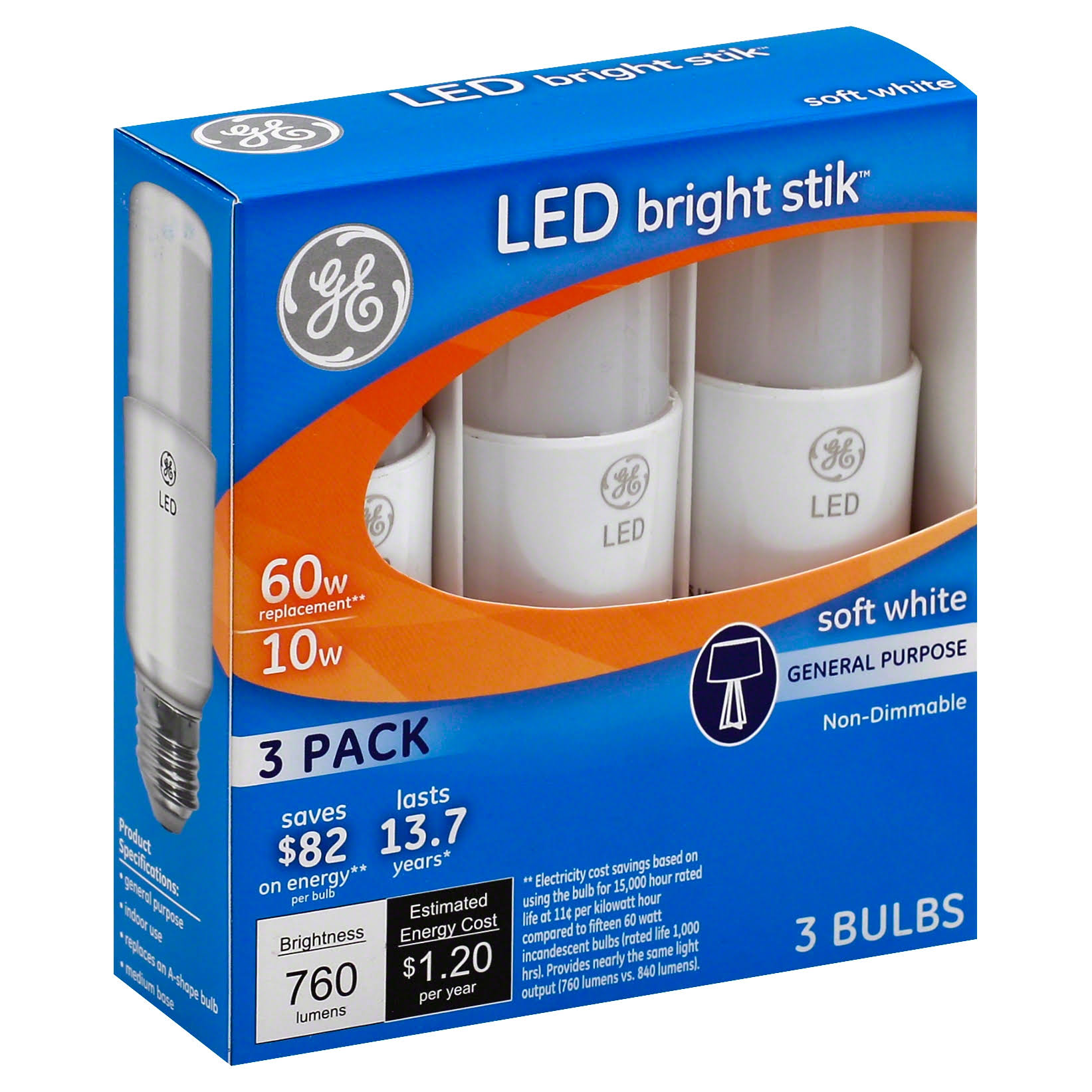 Ge Led Bright Stik - 3 Pack, 10W, Soft White