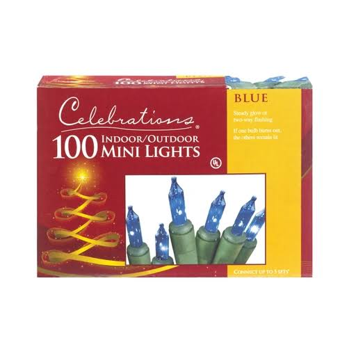 Celebrations Mini Light Set - 100 Lights, Blue, 18""