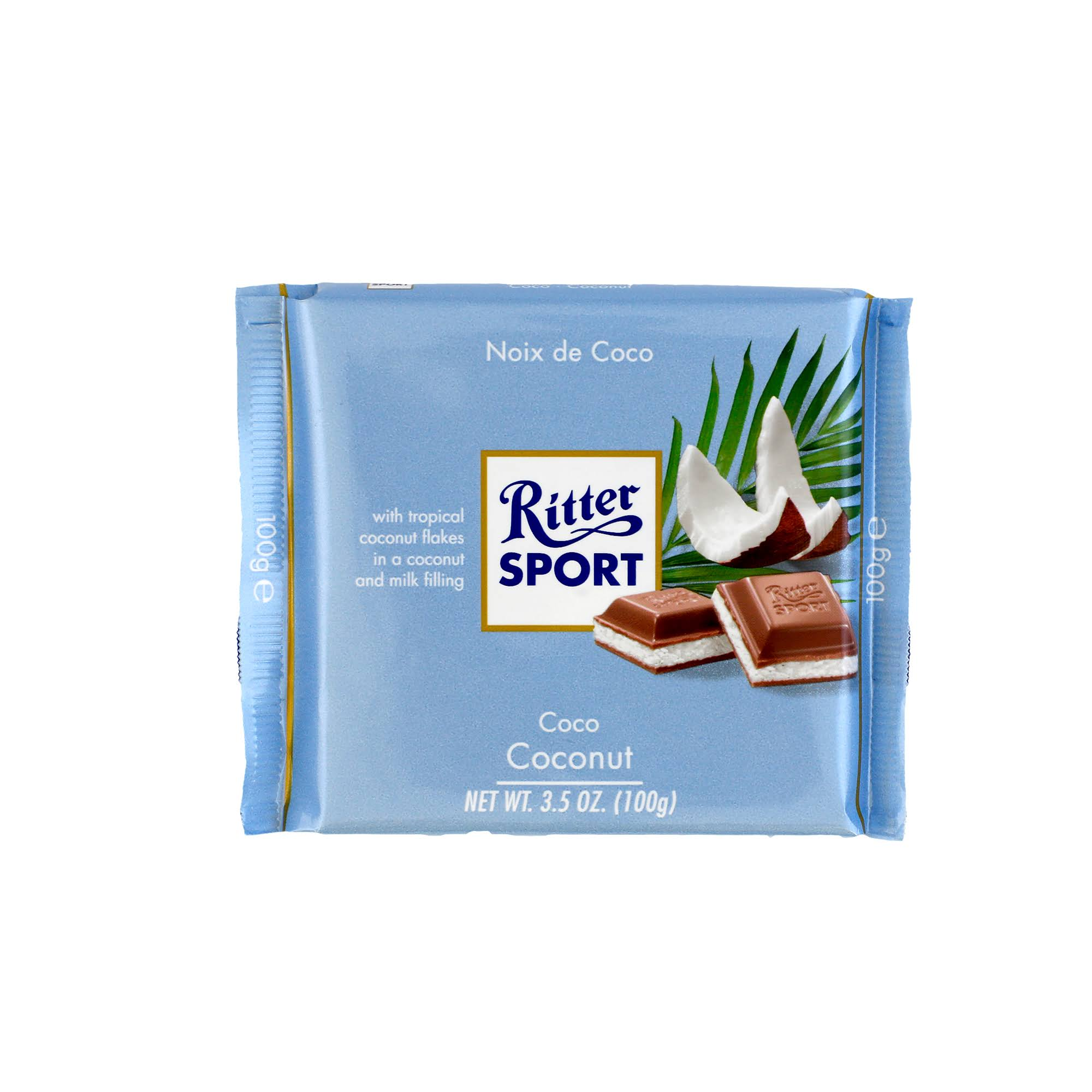 Ritter Sport Colorful Variety Milk Chocolate, with Coconut - 3.5 oz