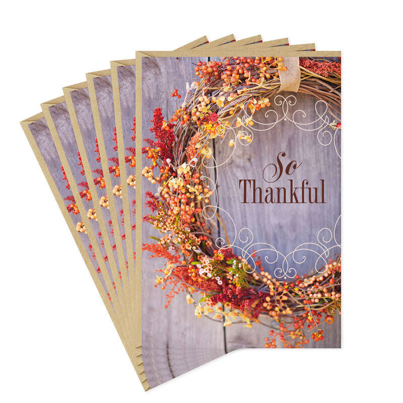 So Thankful Fall Wreath Thanksgiving Cards, Pack of 6