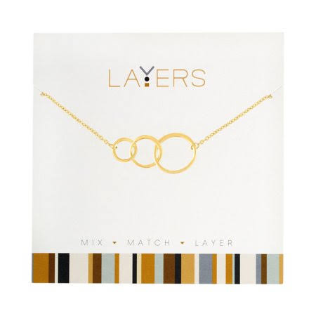 Layers Open Circle Charm Trio Necklace in Gold