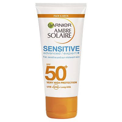 Ambre Solaire Sensitive Face and Neck Hypoallergenic Sun Protection Cream - SPF 50 Plus, 50ml