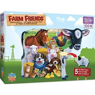 Masterpieces Farm Friends Shaped - 100 Piece Kids Puzzle