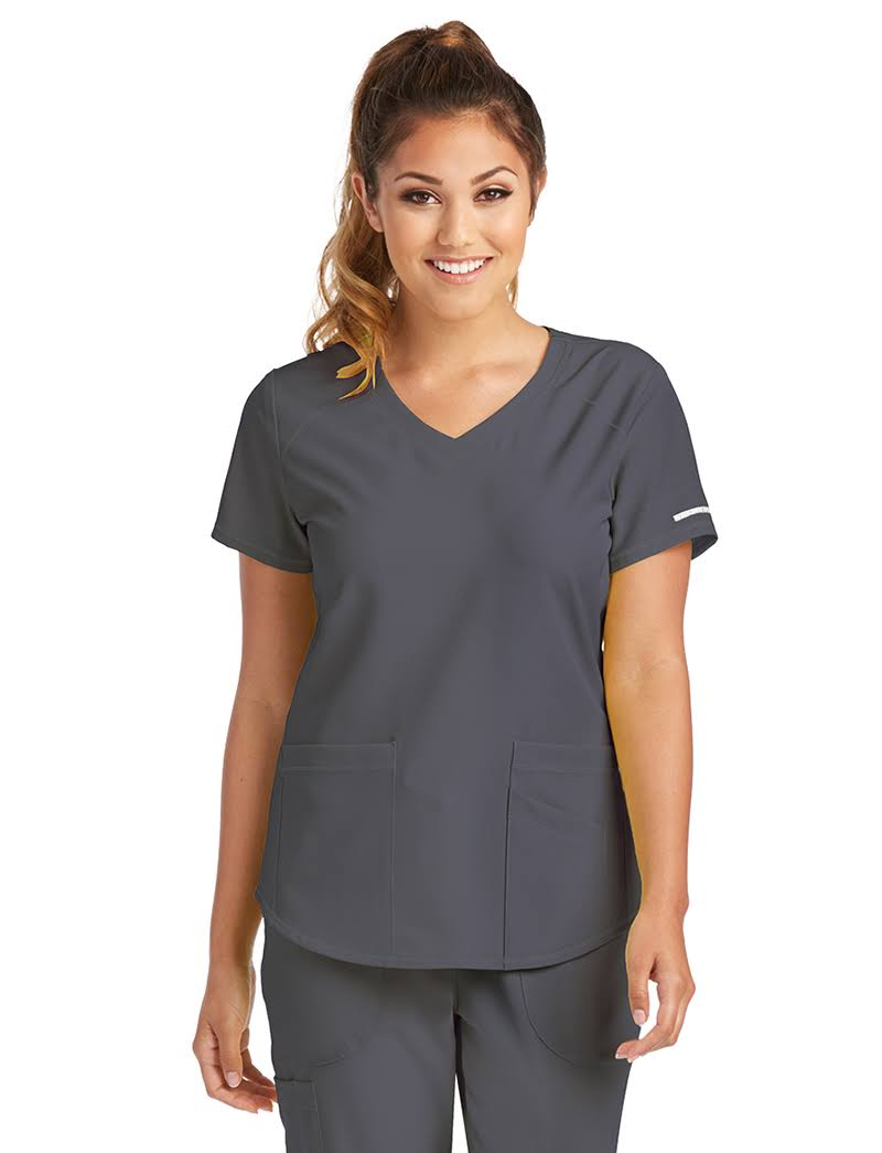 Skechers Vitality V-Neck Scrub Top - XL - Pewter