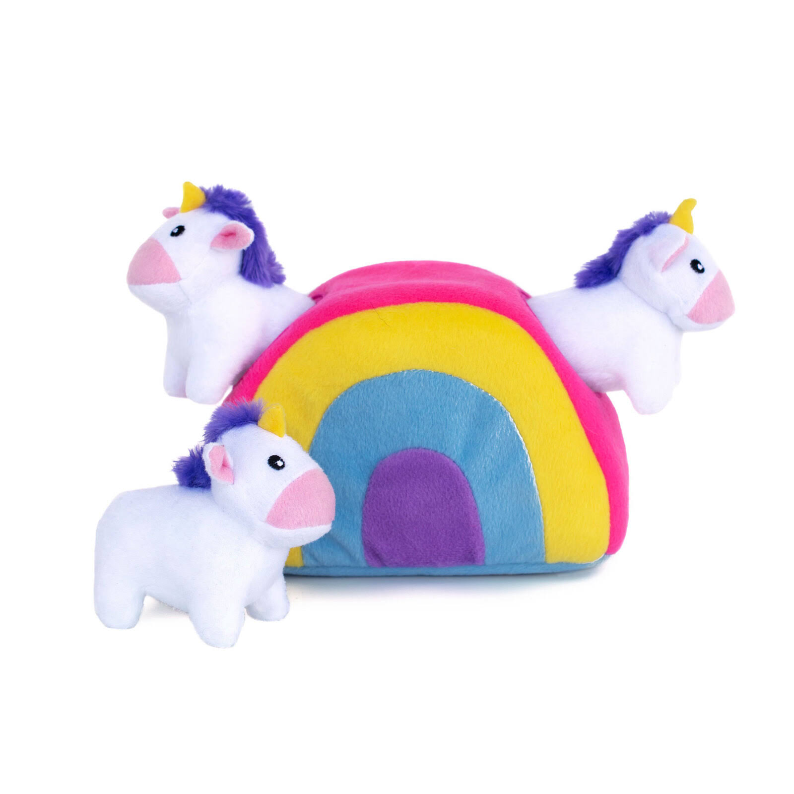 ZippyPaws Unicorns in Rainbow Zippy Burrow Dog Toy