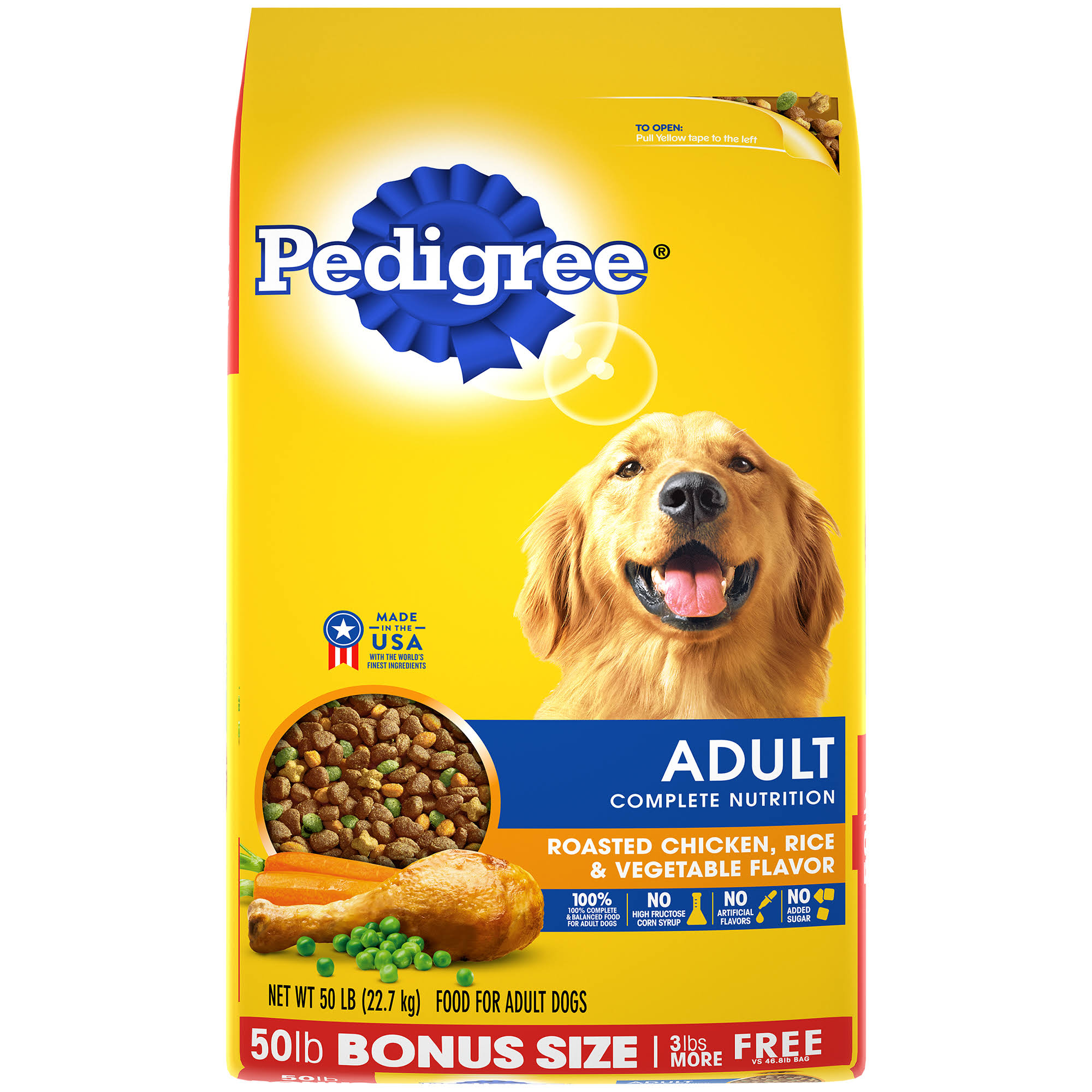 Pedigree Adult Complete Nutrition Dry Dog Food - Roasted Chicken, Rice & Vegetable Flavor, 50lb