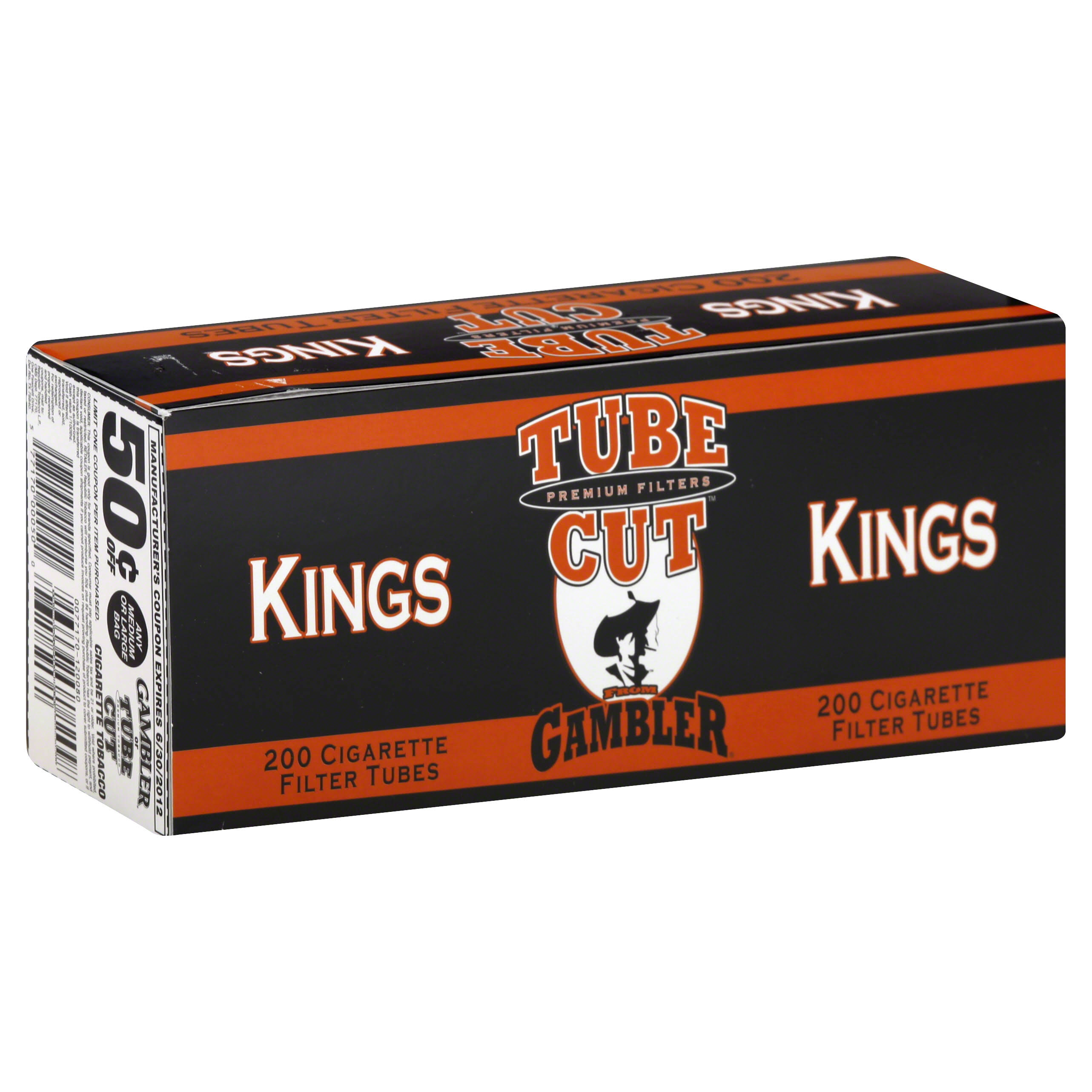 Gambler TubeCut Cigarette Filter Tubes, Kings - 200 tubes