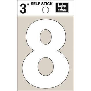 Hy-Ko 3 in. Reflective Vinyl White 8 Number Self-Adhesive
