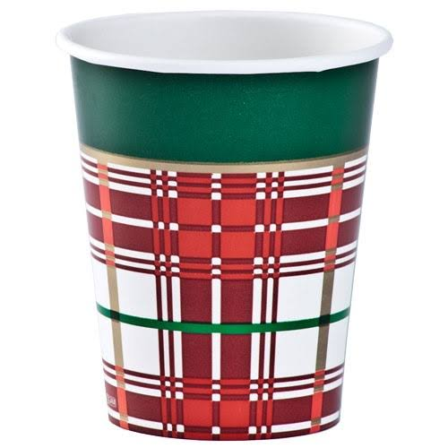 Hanna K. Signature 99182 Plaid Christmas Hot/Cold Cup - Red/Green, 9oz, 24ct