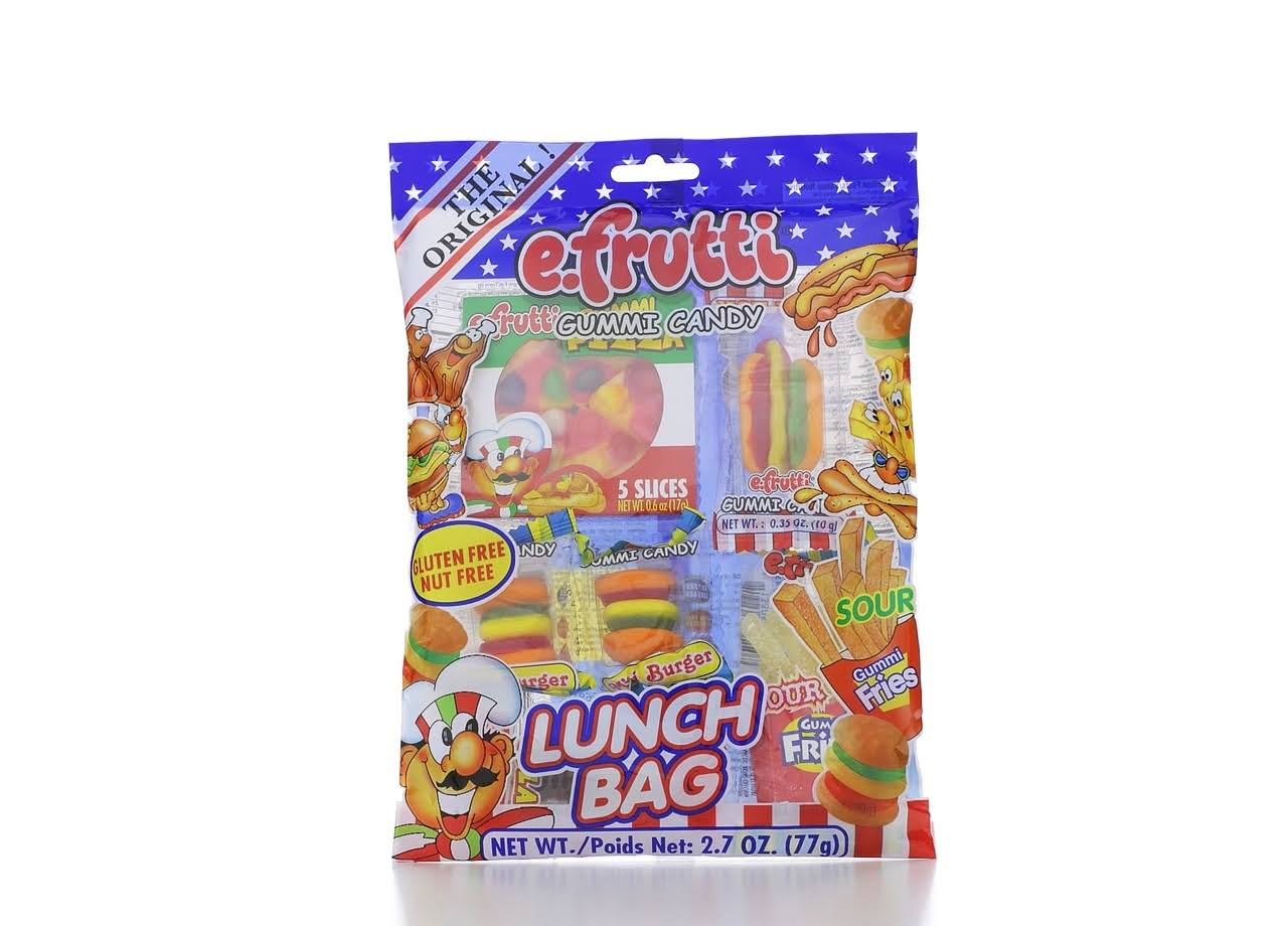 E-Frutti Gummi Candy Lunch Bags - Gummy Burgers, Hot dogs, Fries, Cola
