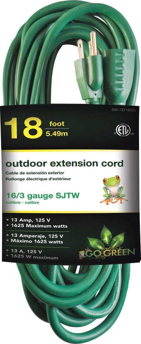 Go Green Power Outdoor Extension Cord - Green, 5.49m