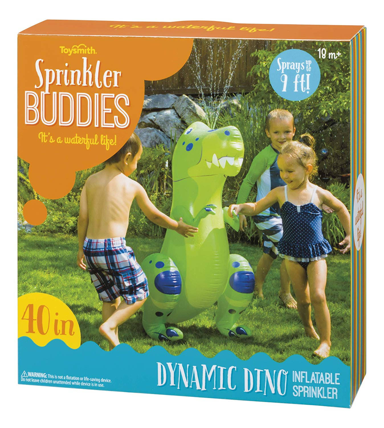 Toysmith Sprinkler Buddies Dynamic Dino Inflatable Outdoor Sprinkler