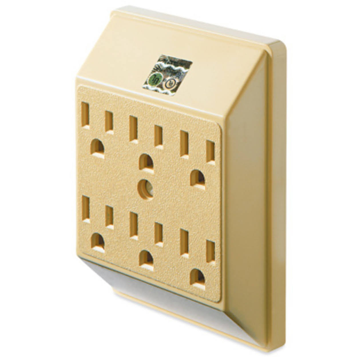 Master Electrician Grounded in Wall and Wall Mount Adapter - Ivory, 6 outlet