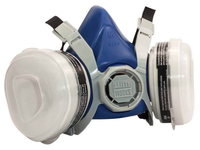 Safety Works Sw00318 Half Mask Paint and Pesticide Respirator - Standard Size