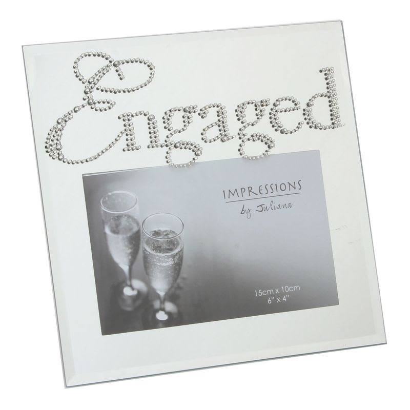 Mirror Glass Photo Frame Crystal Words - Engaged