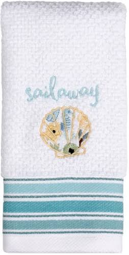 Saturday Knight Seaside Blossoms Bath Towel Collection, White