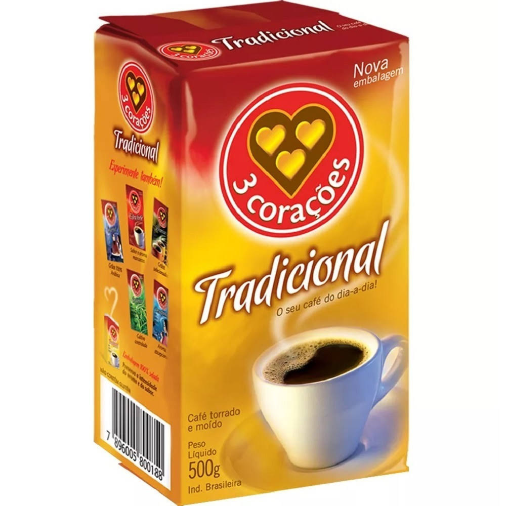 3 Corazones Traditional Brazilian Ground Coffee - 500g