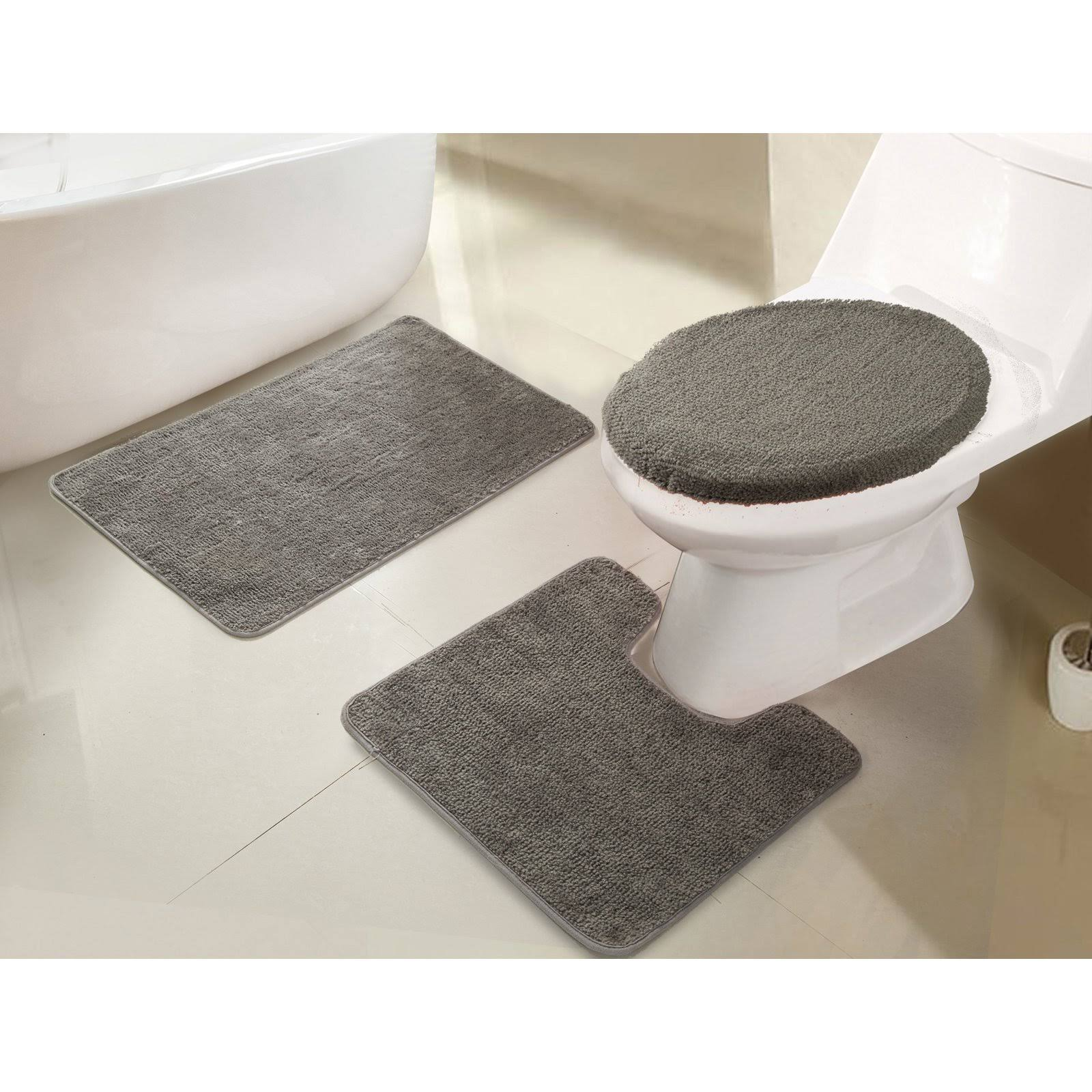 RT Designers Collection Imperial 3 Piece Bath Rug Set Silver