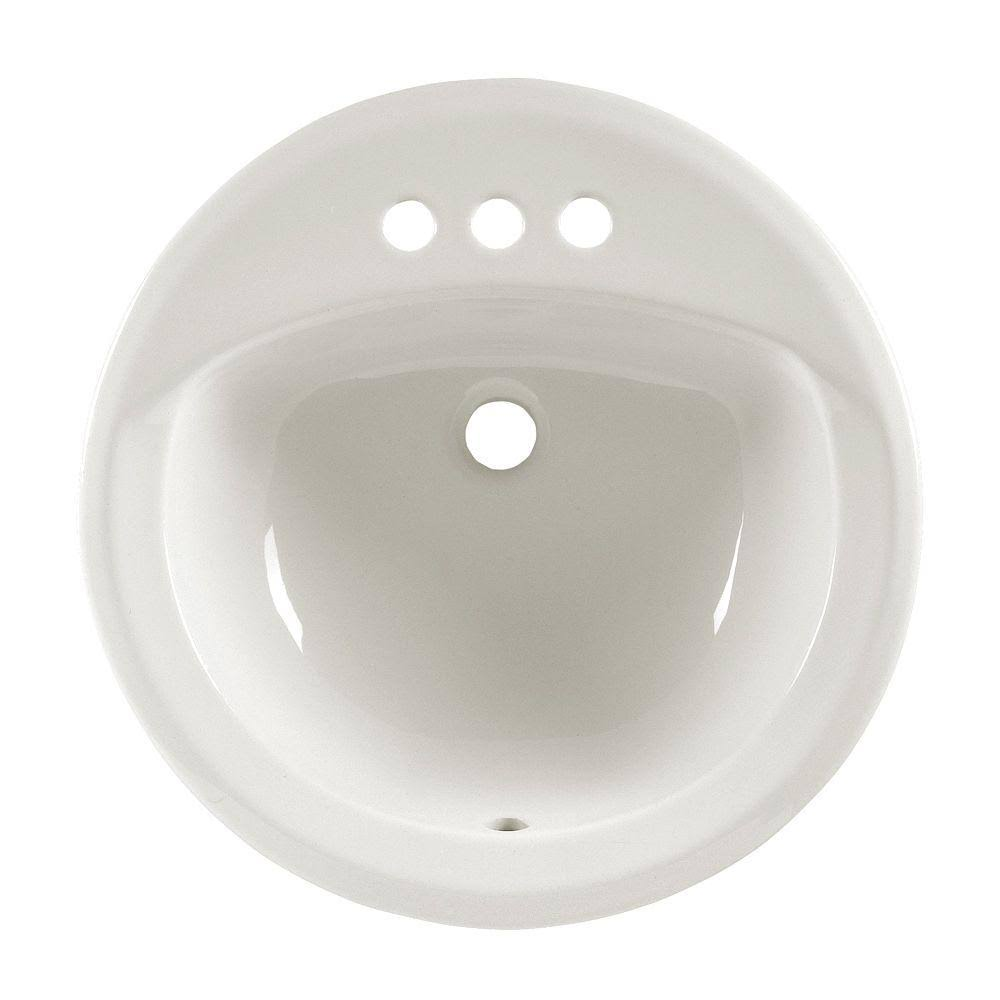American Standard 0491019020 Ceramic Rondalyn Drop on Center Bathroom Sink - White, 4""