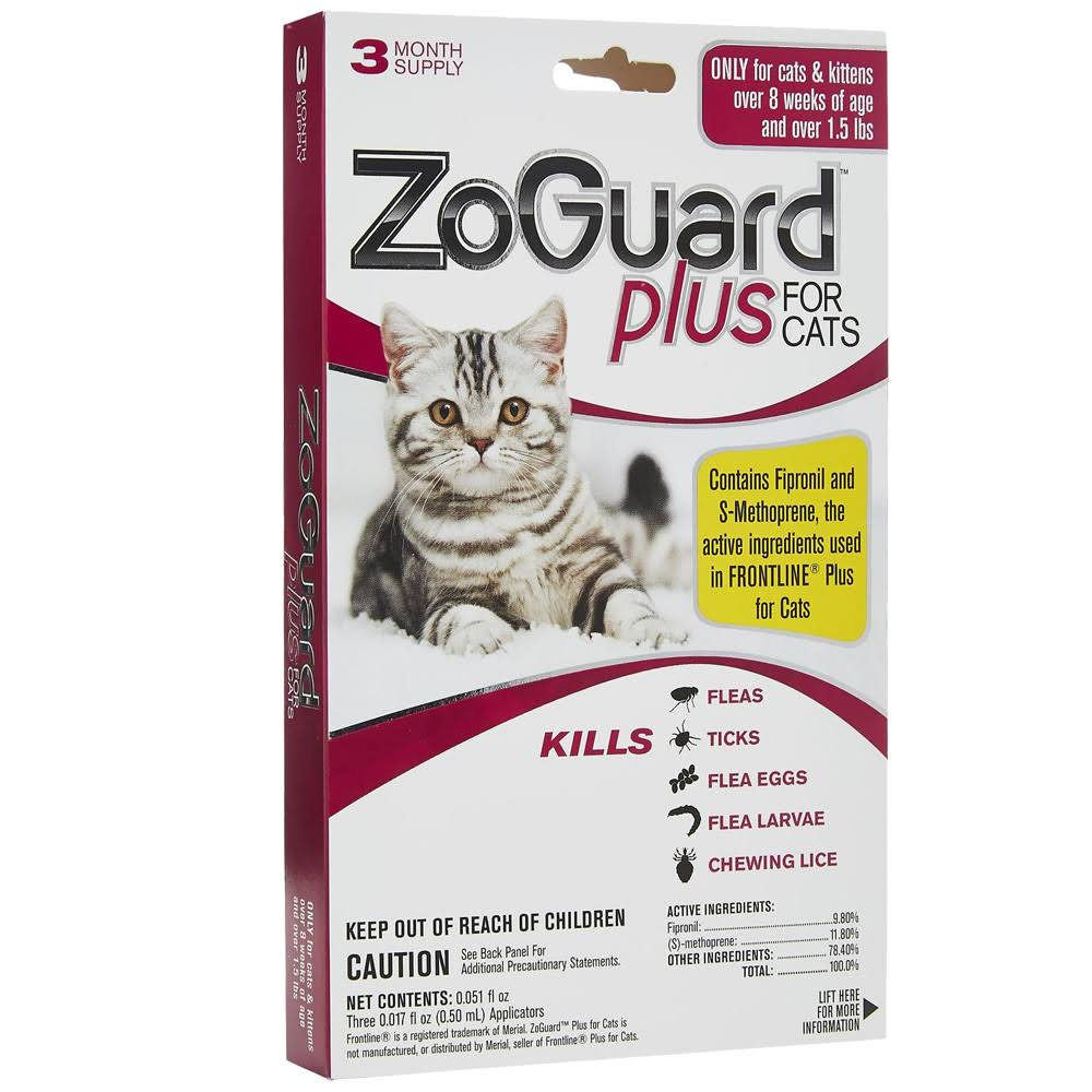 ZoGuard Plus for Cats Flea and Tick Treatment - 3pk