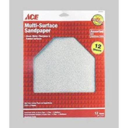"ACE Multi Surface Sandpaper, 9"" x 11"" - 12 count"